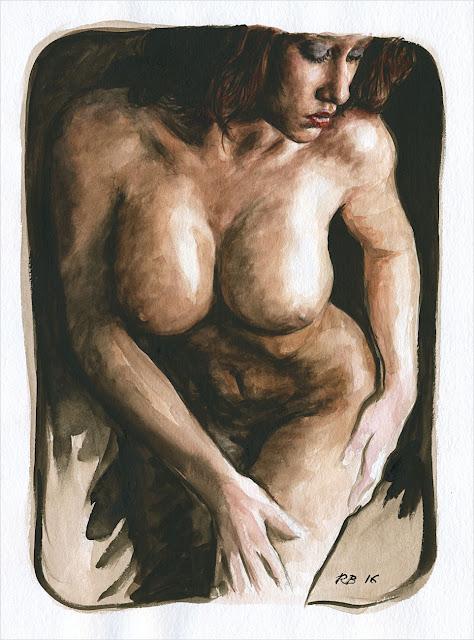 René Bui - Etude de nu à l'aquarelle #160190