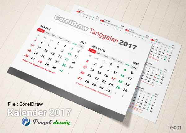 download Tanggalan 2017 Corel Draw PDF TG001