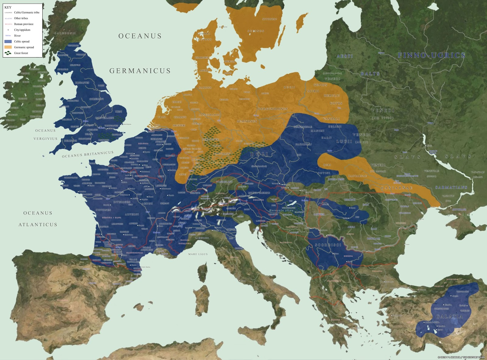 European Tribes documented by the Romans and the Greeks (1st Century BC-AD)