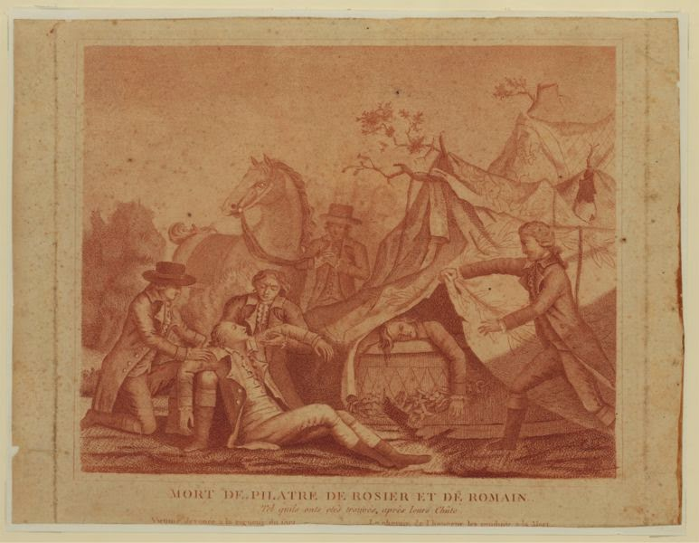 Deaths of balloonists Jean-François Pilâtre de Rozier and Pierre Romain.