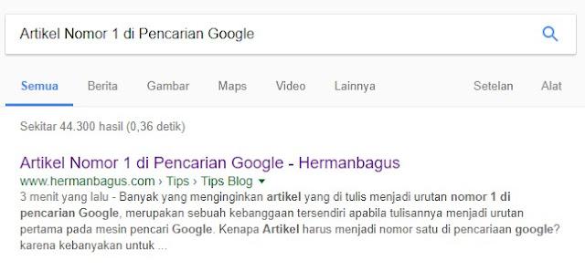 Artikel Nomor 1 di pencarian Google Hermanbagus