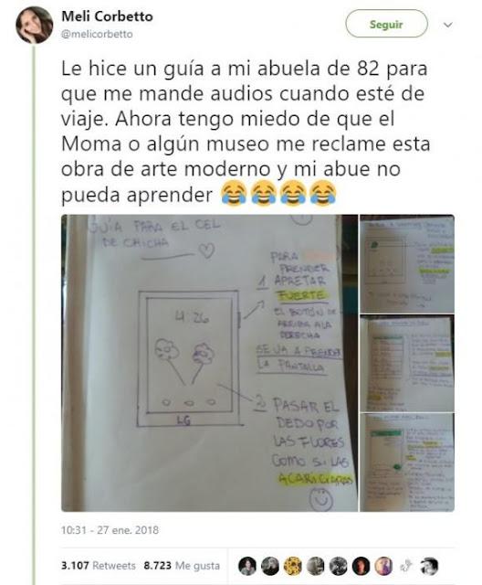 Nieta hace una guía para que su abuela pueda usar Whatsapp