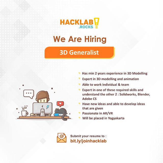 Lowongan Kerja Developer, 3D Generalist, UI UX Designer