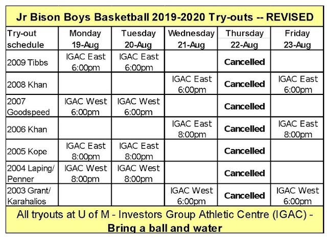 UPDATED: Junior Bison Boys Basketball Club Announces