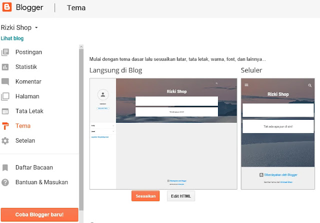 Cara mengubah tema pada blogspot Blogger