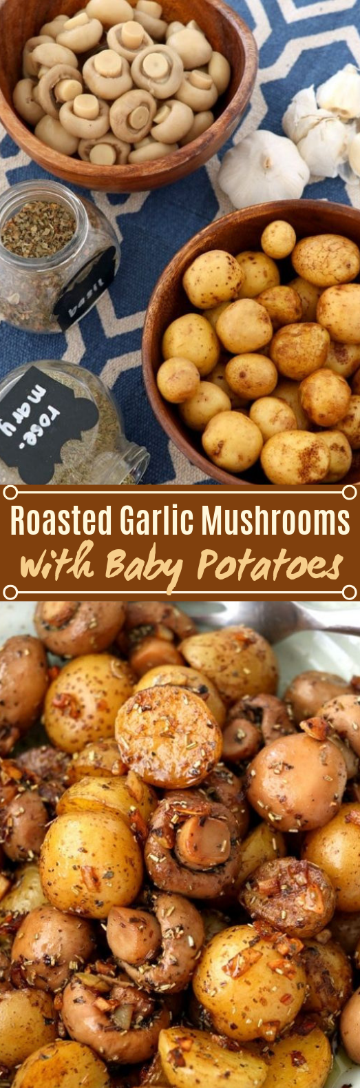 Roasted Garlic Mushroom And Baby Potatoes #vegetarian #sidedish