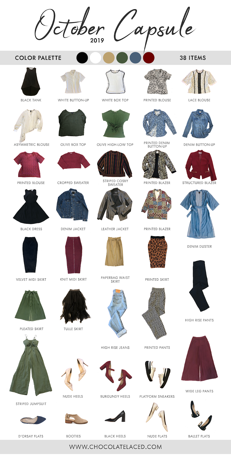 October 2019 capsule closet items