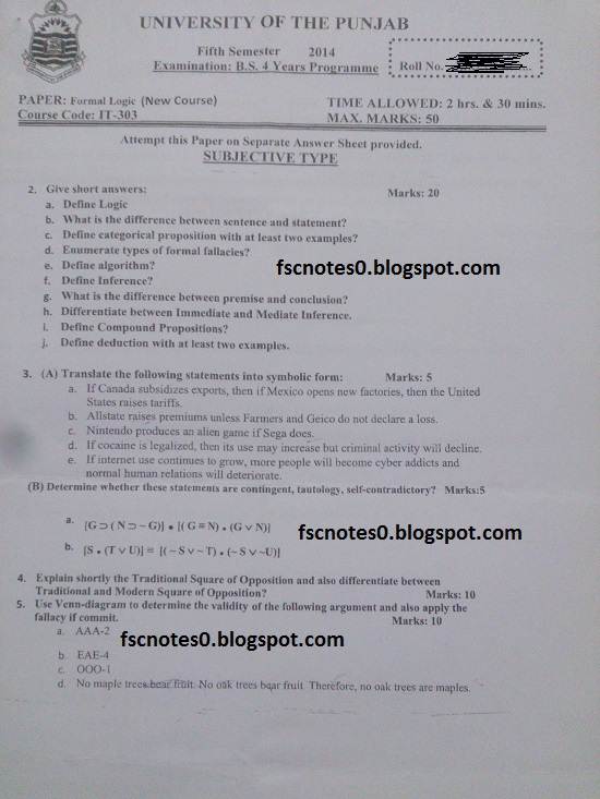 BS (Hons) IT Information Technology Past Papers Semester 5