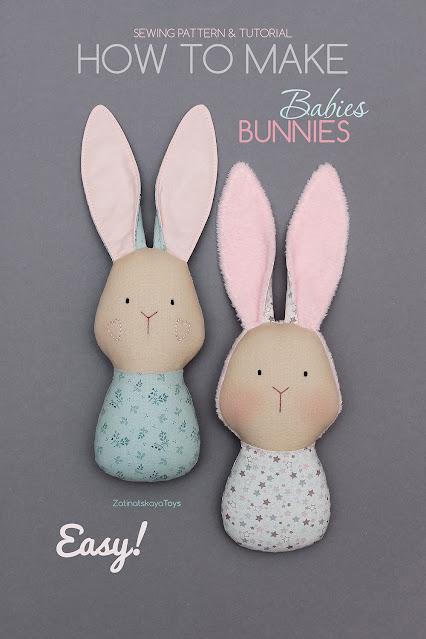 PDF bunny baby sewing pattern DIY gift