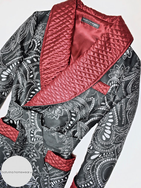 mens vintage paisley robe victorian dressing gown quilted silk smoking jacket black red