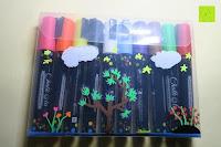 bemalte Verpackung: Kreidemarker – 10er Pack neonfarbene Markerstifte. Für Whiteboard, Kreidetafel, Fenster, Tafel, Bistros – 6mm Kugelspitze mit 8 Gramm Tinte