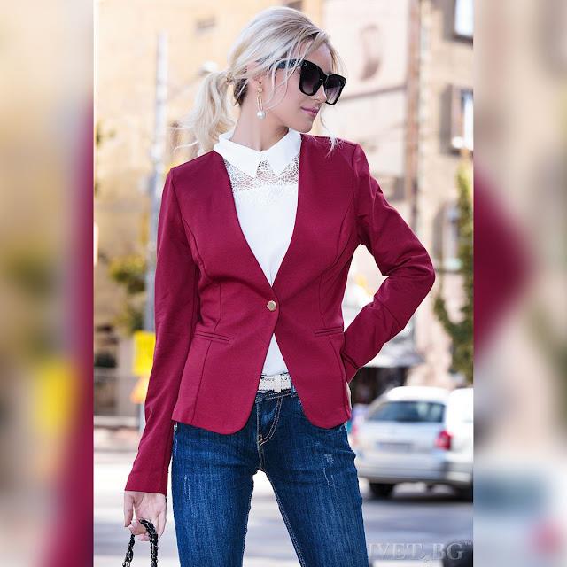 Μακρυμάνικο κόκκινο γυναικείο  σακάκι MARIELA CHERRY