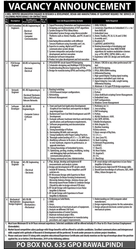 P.O Box No 635 GPO Rawalpindi Jobs 2019