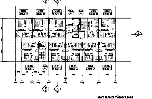 Sơ đồ mặt bằng tầng 3,5-18 tòa T3 B1.3 Thanh Hà