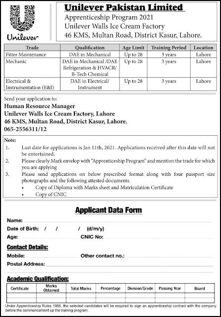 Unilever Pakistan Jobs 2021