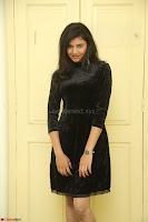 Mounika in a velvet short black dress for Tick Tack Movie Press Meet March 2017 104.JPG
