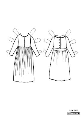 Kaks kleiti pabernukule Fredike. Vasakpoolne on kroogitud seelikuga ja eest nööbitud pihikuga. parempoolne on sarnase seelikuga, aga lisaks nööpidele pihikul ilmestavad seda väikese pitsiga krae ja lai vöö.