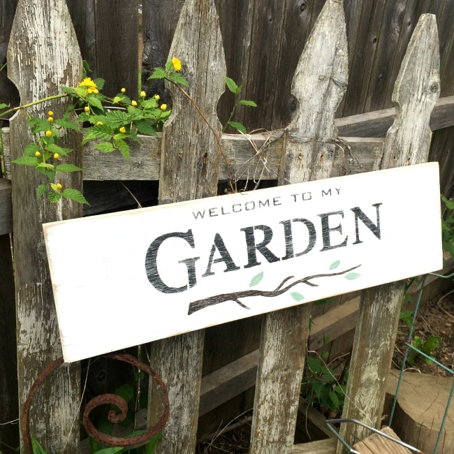 White garden sign in front of fence