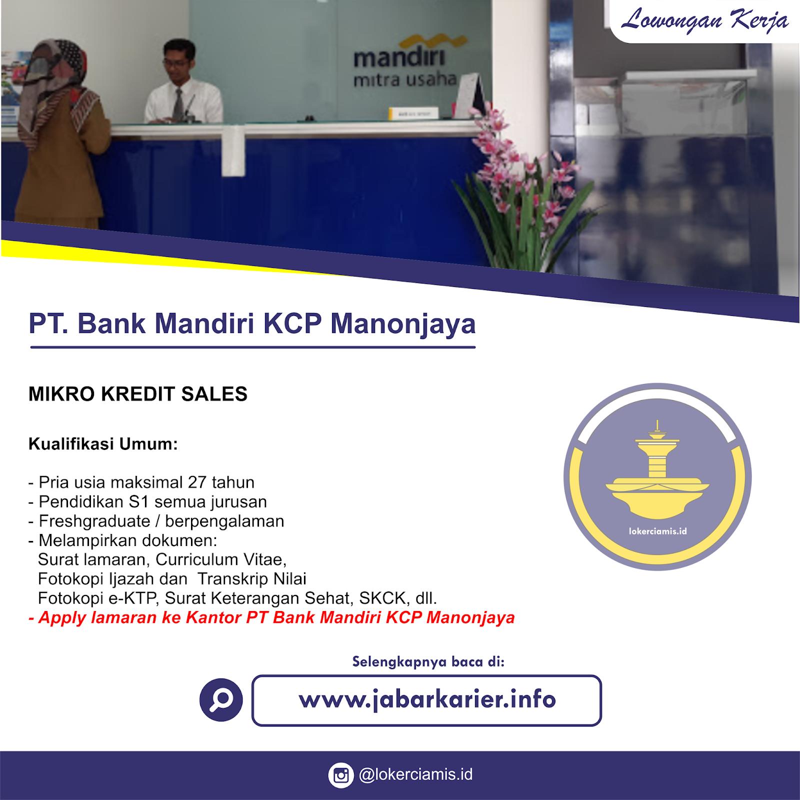 Loker Pt Bank Mandiri Kcp Manonjaya Tasikmalaya Terbaru Bulan September 2019 Lowongan Kerja Terbaru Tahun 2020 Informasi Rekrutmen Cpns Pppk 2020