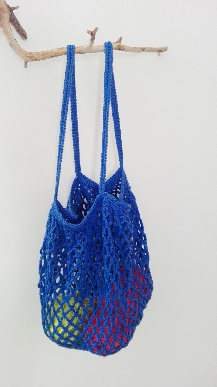 Re-Enganchada: Re-usable blue crochet bag - Bolsa de ganchillo re ...