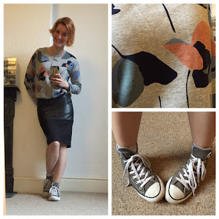 Warehouse pleather skirt with Boden print sweatshirt and converse trainers
