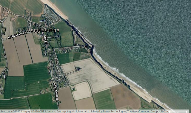 Happisburgh, North Norfolk, as seen on Google Maps © Google