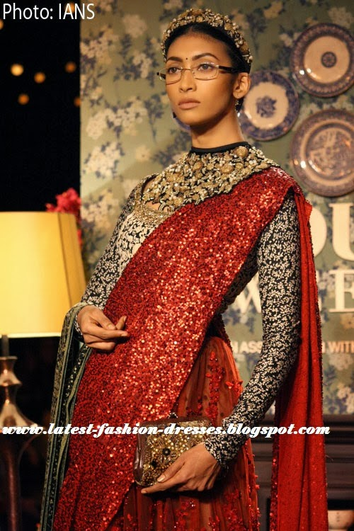 Sabyasachi Delhi Couture fashion saree with full sleeve blouse
