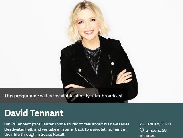 David Tennant on The Lauren Laverne Show on BBC Radio Six - Wednesday 22nd January 2020