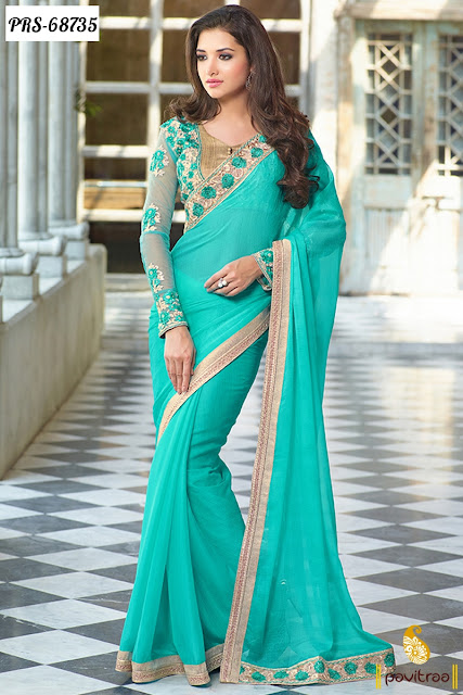 turquoise color pure chiffon saree online shopping with lowest price