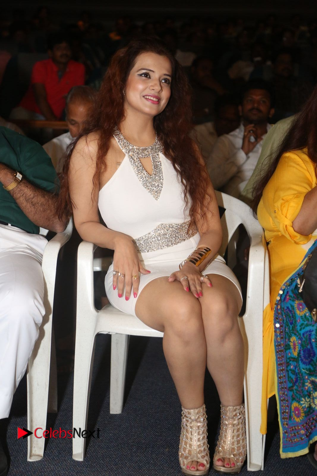 Saloni Stills in White Short Dress at Meelo Evaru Koteeswarudu Movie Audio Launch