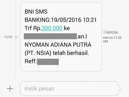 SMS Notifikasi Top Up Dokuwallet Berhasil