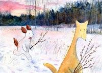 A postcard of Hulmu and Haukku dog and catkins.