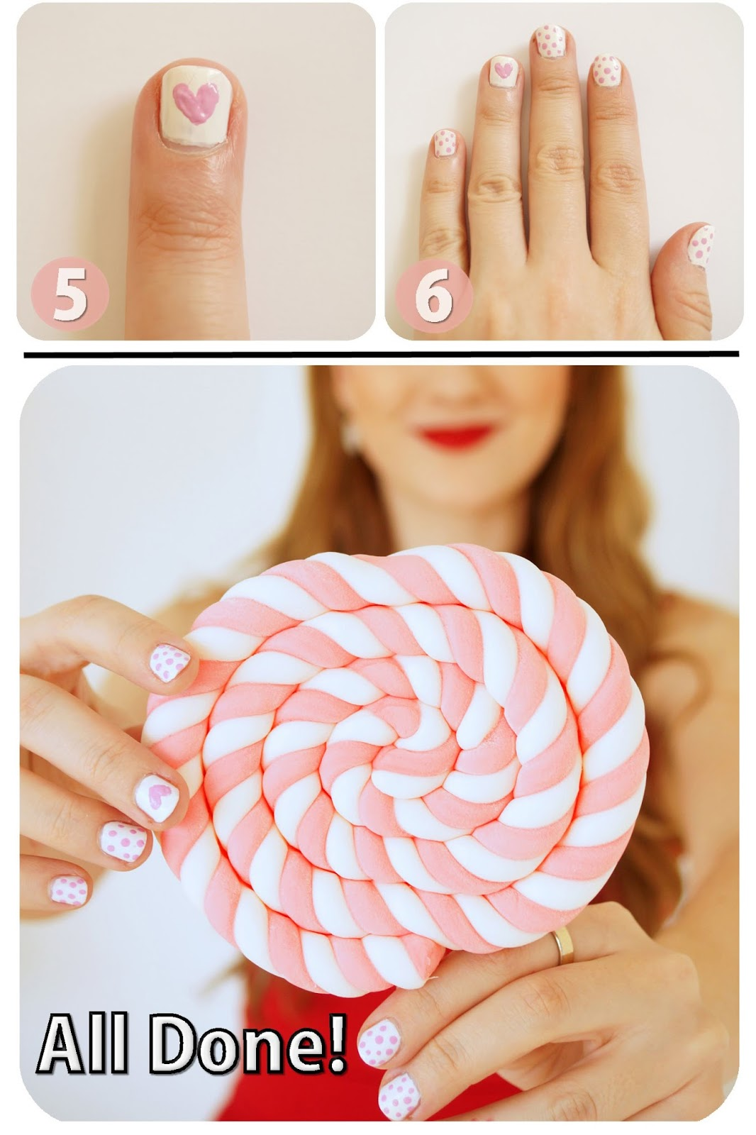 Click through for full tutorial on these cute Valentines Nails!