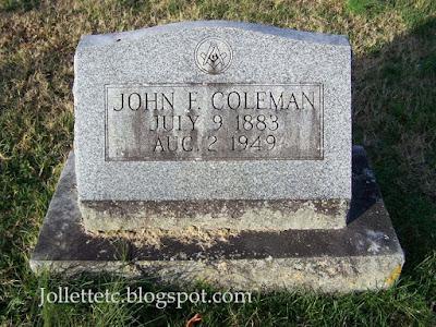 Tombstone John F. Coleman https://jollettetc.blogspot.com