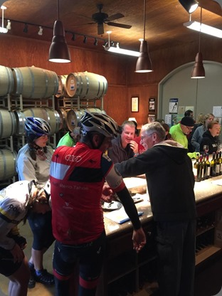 Bikers enjoy refreshments at Heritage Oaks tasting room.