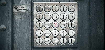 You made it to the lighthouse! The place is creepy… It's as if someone is watching you. The door is sealed with a cryptic lock. To open it, you must crack the code and find out in which direction the missing arrow should point: (image)