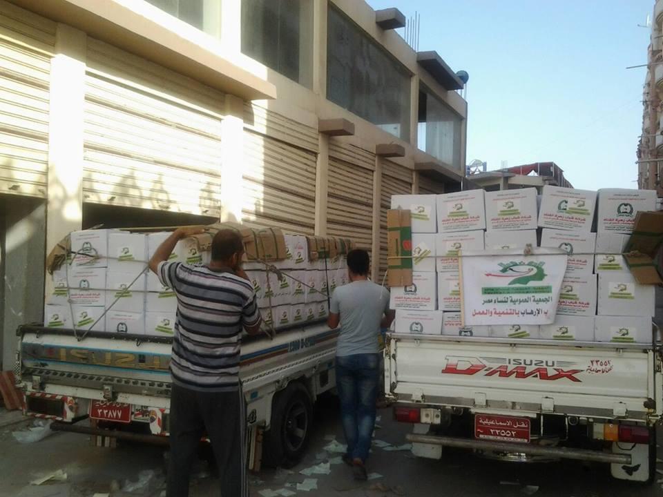 """برعاية الجيش.. """"عمومية نساء مصر"""" تمنح اهالي سيناء 500 كرتونة مواد غذائية"""