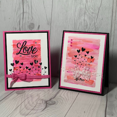 Two Valentine cards using water color wash backgorund and Stampin' Up! Valentine Keepsakes Stamp Set