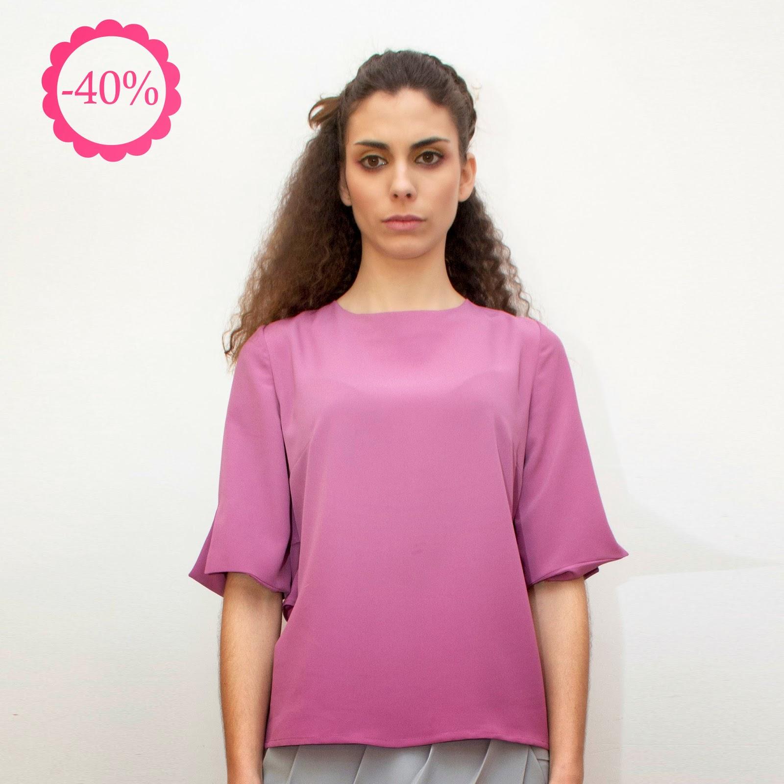 Blusa malva La Böcöque, espalda plisada, ropa online