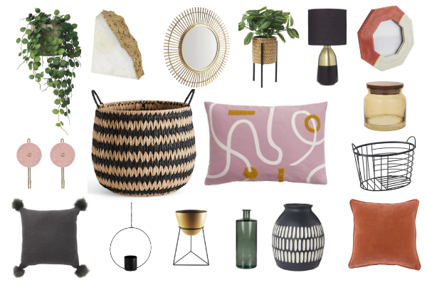 autumn 2019 homewares decor and accessories including cushions, candles, artificial plants, planters and baskets all perfect for updating your home this season for autumn or fall
