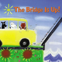 Cover of The Bridge is Up! by Babs Bell with yellow car waiting at draw bridge