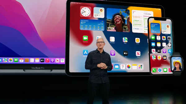 Tim Cook on stage at WWDC 2021
