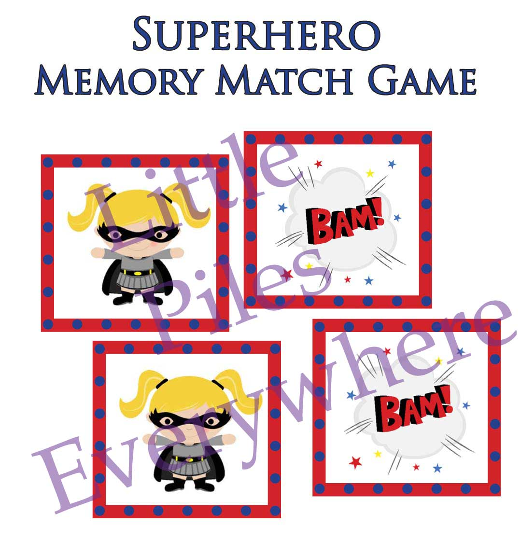 Little Piles Everywhere Superhero Memory Match Game