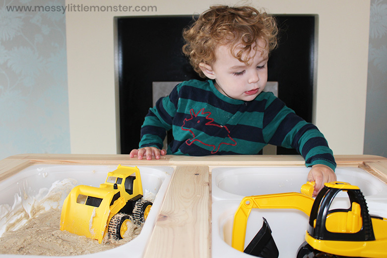 construction sensory bin for toddlers