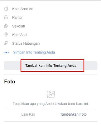 menambah info pribadi di facebook