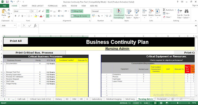 Business Continuity Plan Template in Excel