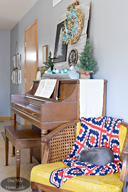 Silver and Blue Christmas Decor with Vintage Chair  | Christmas Home Tour - One Mile Home Style