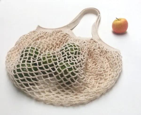 Ecobag Francesa Crochê sacola reutilizável