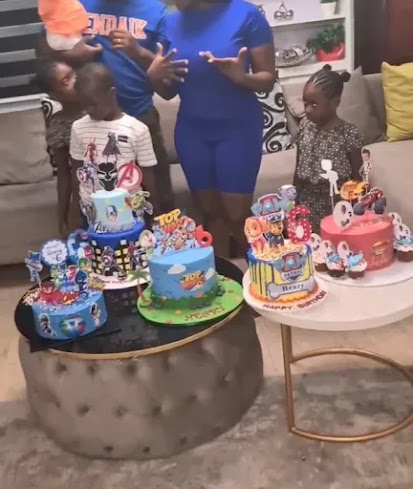 Actress Mercy Johnson And Husband Celebrates Son's 6th Birthday With 5 Cakes
