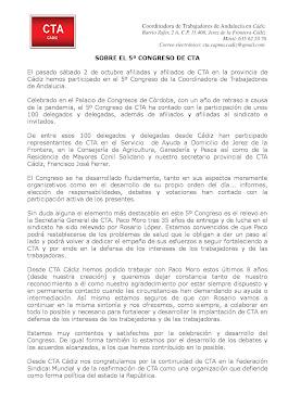 NOTA DE CTA CÁDIZ SOBRE EL 5º CONGRESO DE CTA